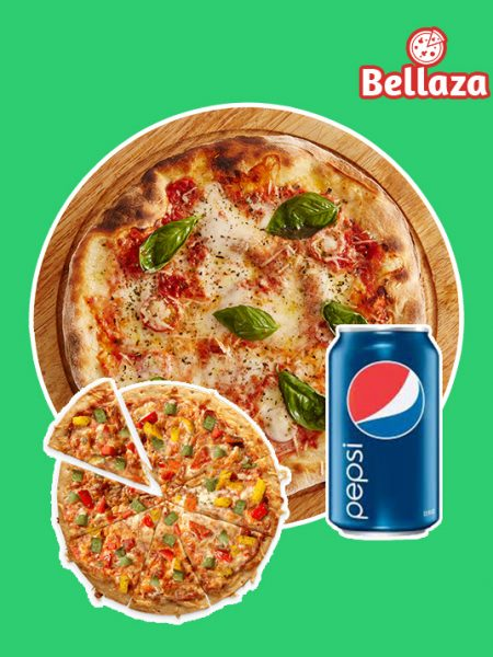 Combo 01: 1 Large Pizza + 1 Medium Pizza + 1 Pepsi 350ml