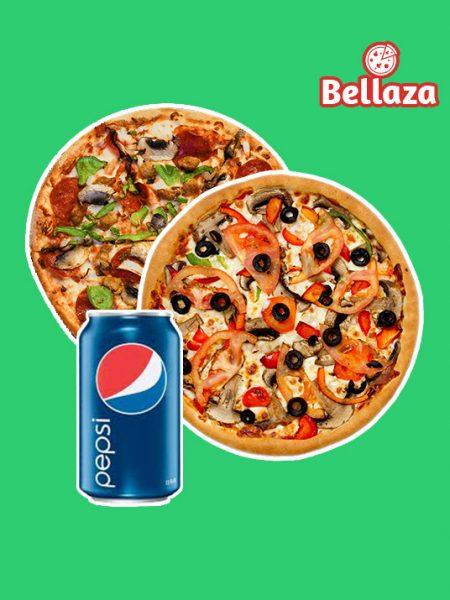 Combo 02: 1 Medium Pizza + 1 Medium Pizza + 1 Pepsi 350ml