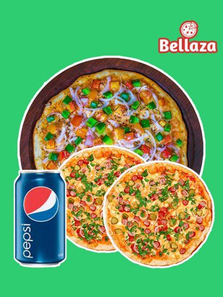 Combo 03: 1 Large Pizza + 2 Small Pizza + 1 Pepsi 350ml